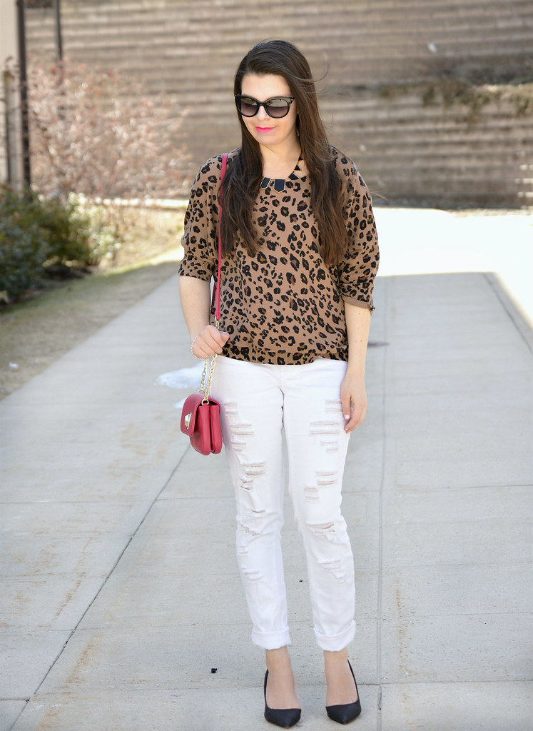 animal print top and white pants