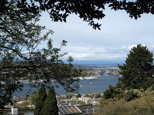 View over Lake Union towards Olympic Mountains from top of Blaine Stree stairs