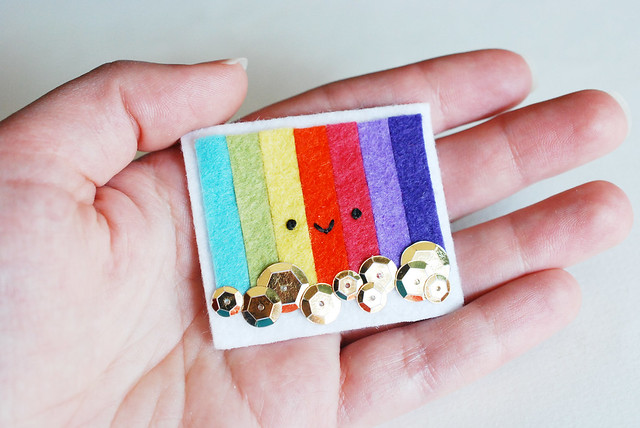 finished rainbow pin