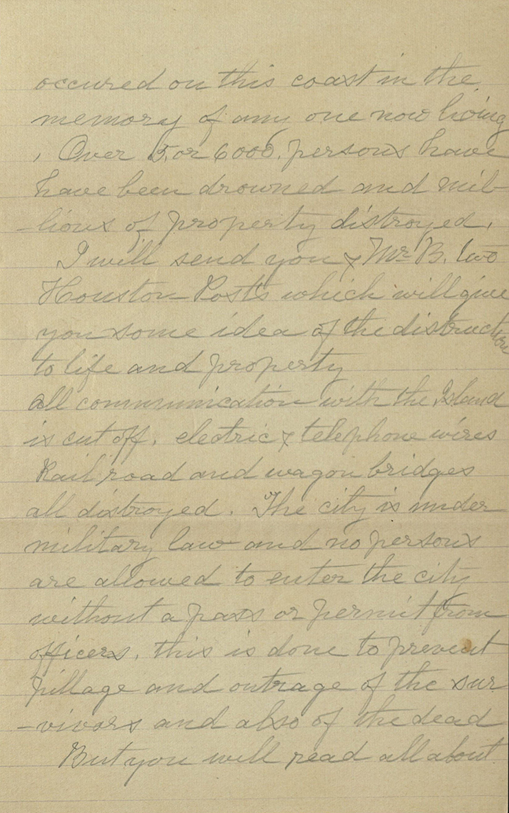 Galveston Storm Letter, 1900