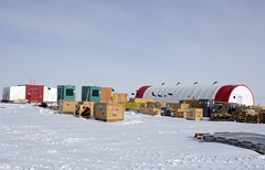 The South Pole Ice Core (SPICE) field camp is located about two kilometers from the South Pole Station