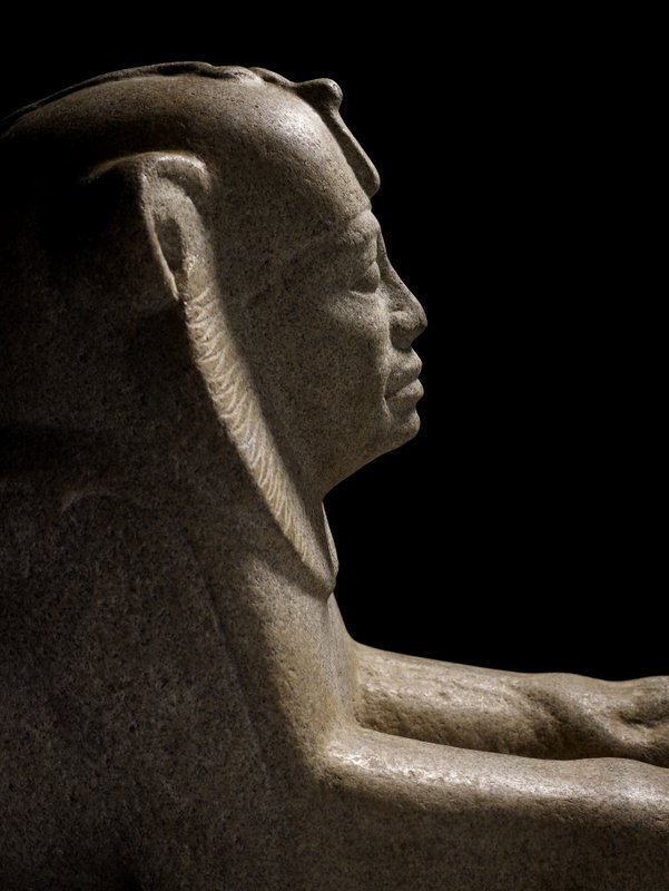 On display: Above and below, Sphinx of Taharqa from the Temple of Taharqa in Kawa, Sudan  680 BC  granite  Credit: The Trustees of the British Museum