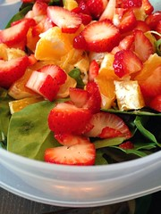 Green salad with fruit.