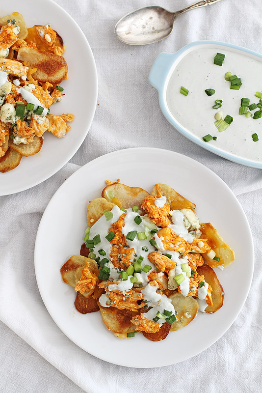 Potato Chip Buffalo Chicken Nachos | girlversusdough.com @stephmwise