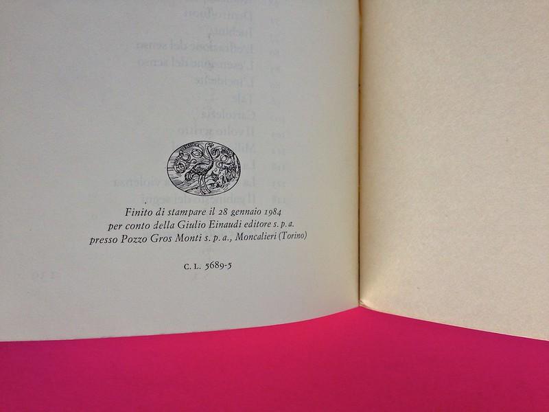 Roland Barthes, L'impero dei segni. Einaudi 1984. Pagina dello stampatore, alla pag. 140 (part.), 1