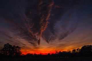 Sunset over Bruton Heights Education Ctr, Colonial Williamsburg, Virginia