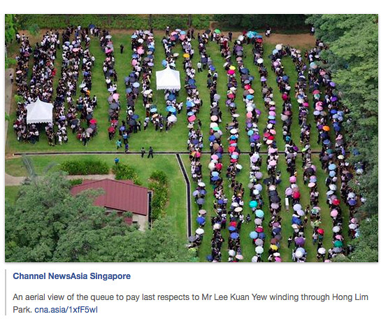 Screen Shot: Channel NewsAsia Singapore: aerial view of queue to pay last respects to Lee Kuan Yew in Hong Lim Park