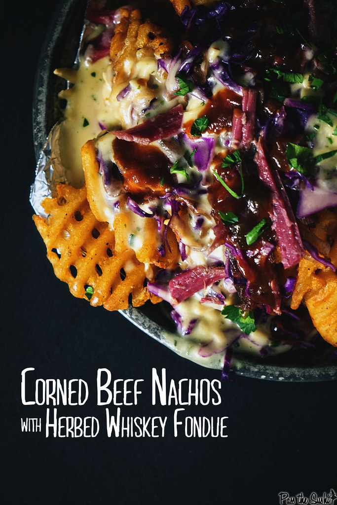 Corned Beef Nachos with Herbed Whiskey Fondue | GirlCarnivore.com