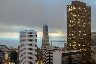 Downtown under clouds