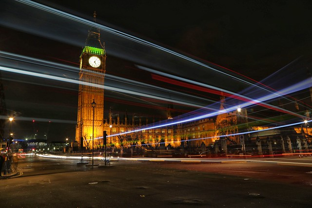 Big Ben at night London busses
