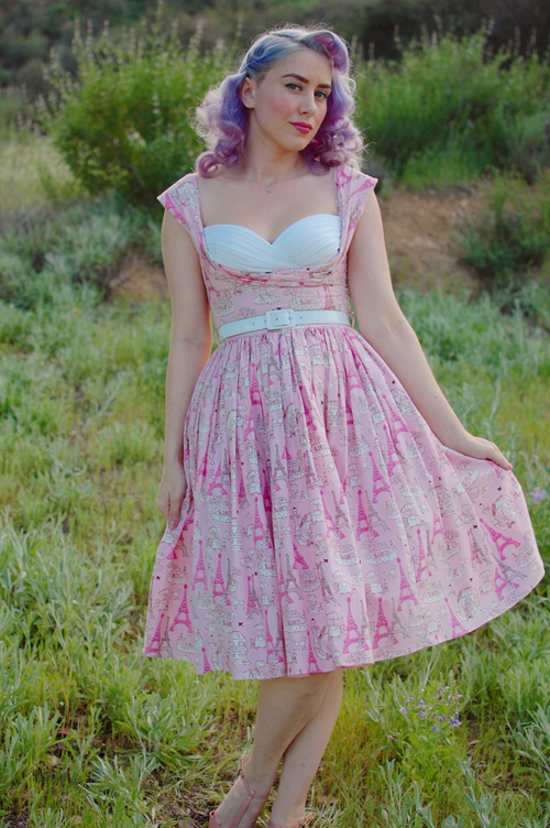 Bernie Dexter Beatrice dress in Pink Poodle print