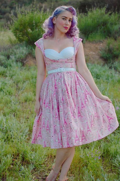 Bernie Dexter Beatrice dress in Pink Poodle print
