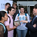 LMU School of Film & Television posted a photo:	Burns takes time to share some words of wisdom with film students. | Photo by Juan Tallo