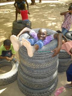 Vida in her tyre tower