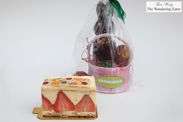 Fraiser cake and the Easter chocoalte bunny in basket