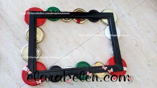 How to decorate a frame with jar lids