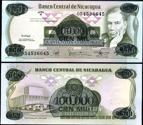 100 000 Cordóbas Nikaragua 1987, pretlač, Pick 149