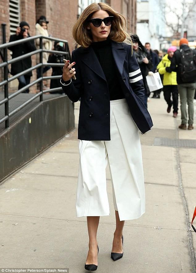 white-front-pleat-culottes-Tibi-stripe- sleeve-cotton-blend-pea-coat