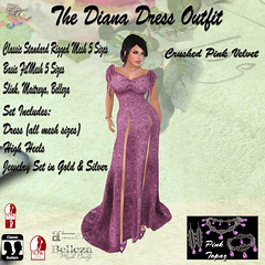 The Diana Dress Crushed Velvet Pink