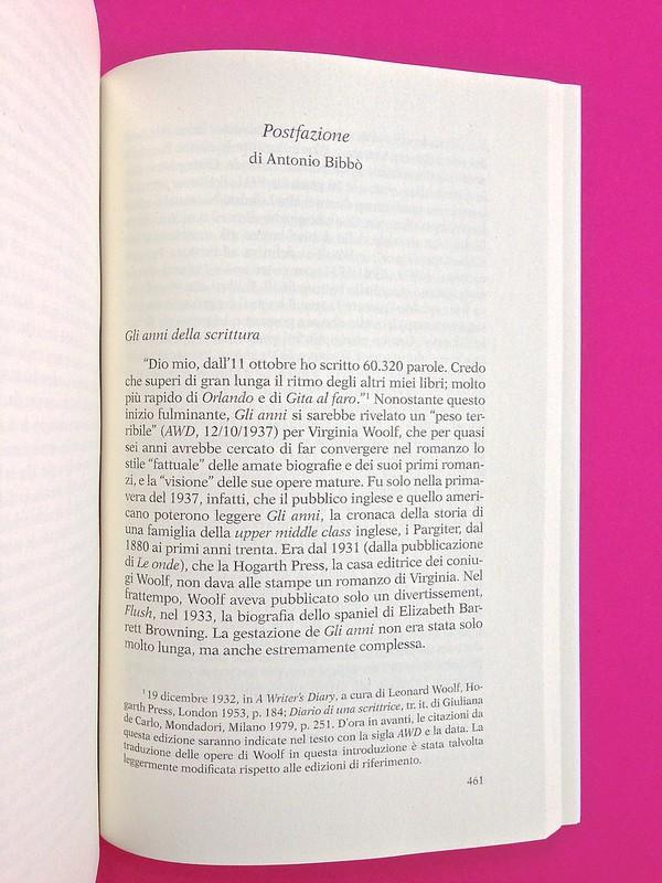 Gli anni, di Virginia Woolf. Feltrinelli 2015. Art dir.: Cristiano Guerri; alla cop.: ill. col. di Carlotta Cogliati. Postfazione, a p. 461 (part.), 1