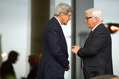 U.S. Secretary of State John Kerry chats with German Foreign Minister Frank-Walter Steinmeier on March 29, 2015, in Lausanne, Switzerland, during a break in P5+1 partner negotiations about the future of Iran's nuclear program. [State Department Photo / Public Domain]