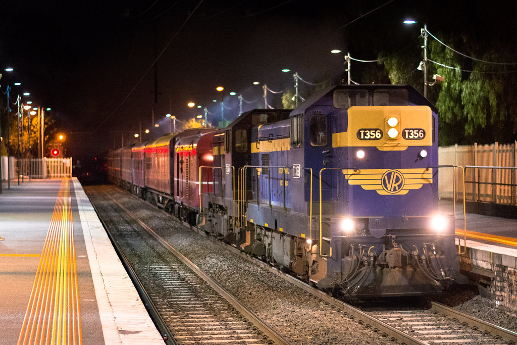 T356-T364 with #8597 empty cars from Westall at Clayton by Luke's Rail Gallery