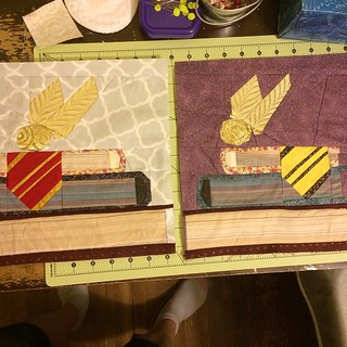 Finally finished last week's blocks! Combined the old pattern and the new one. :) #POD #projectofdoom #projectofdoom2015 #fandominstitches #harrypotter #snitch