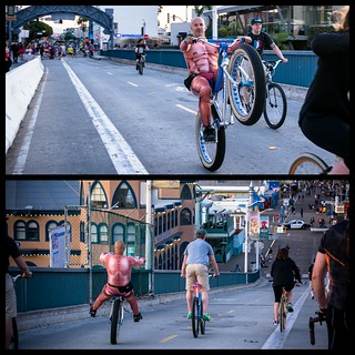 #Wildman @toddlyons riding onto the #santamonicapier #santamonicabeach after the #wolfpackhustle #marathonride  #wheelie #fattire