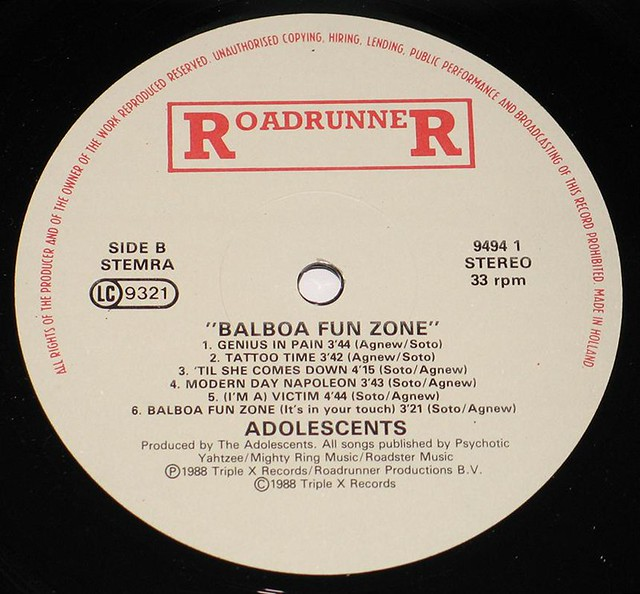 "ADOLESCENTS BALBOA FUN ZONE Lyrics and photo sleeve 12"" Vinyl LP"