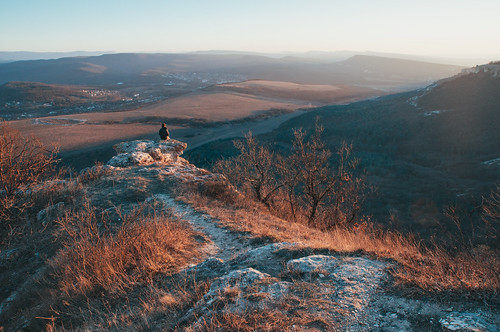 travel sunset sky cliff man mountains nature landscape march spring alone tranquility crimea vsco