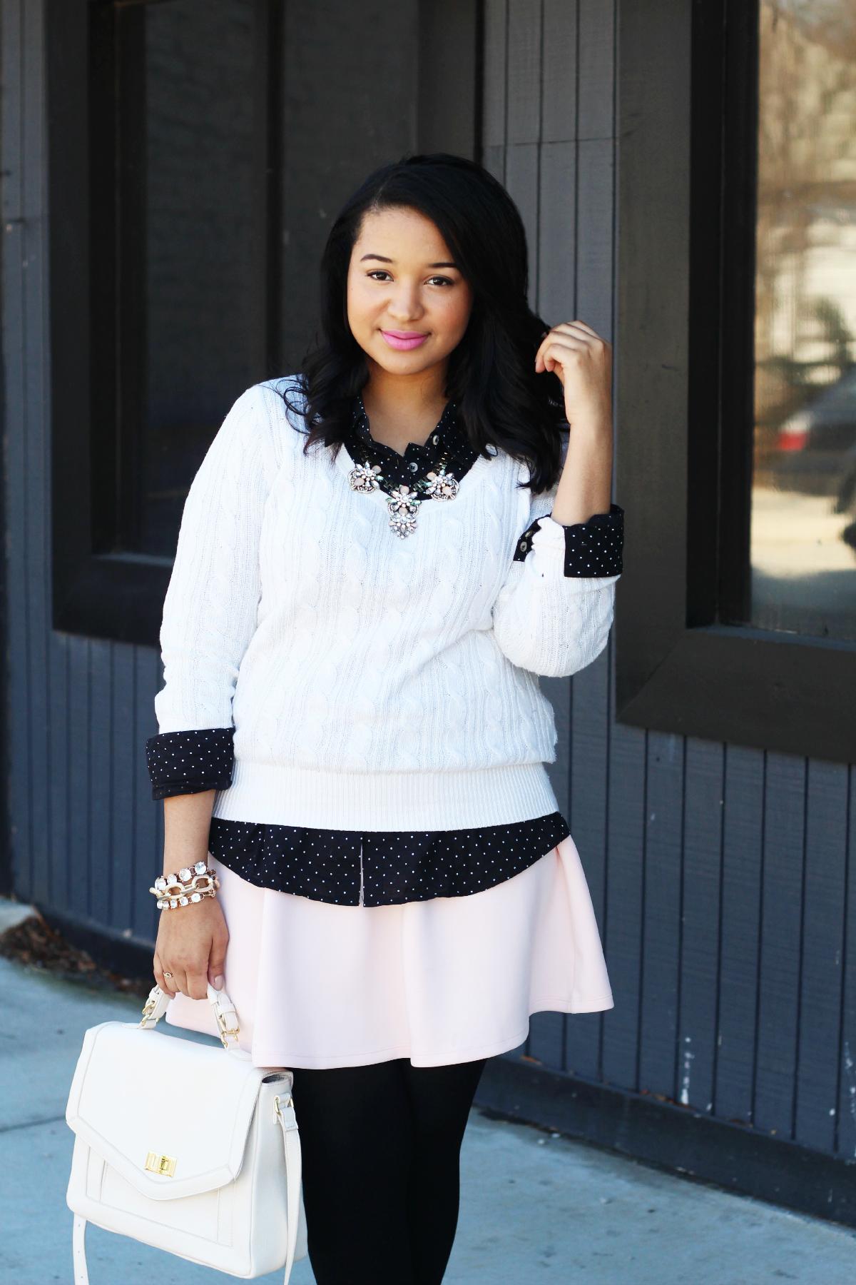 Pink Skirt & Polka Dots