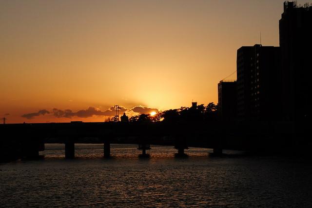 乙川の夕焼け