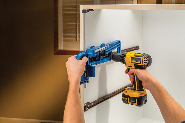 The Universal Drawer Slide Jig which fits most types of drawer slides