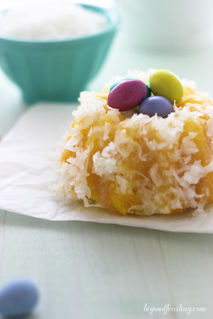 Mini Lemon Coconut Bundt Cakes. They make the perfect little egg nests.