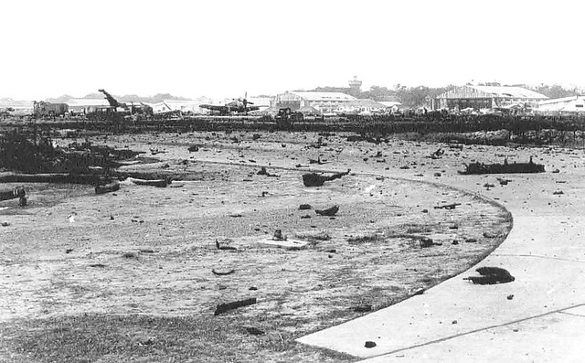 Bien Hoa Disaster (May 16, 1965) - Wreckage on parking apron after explosion and fire