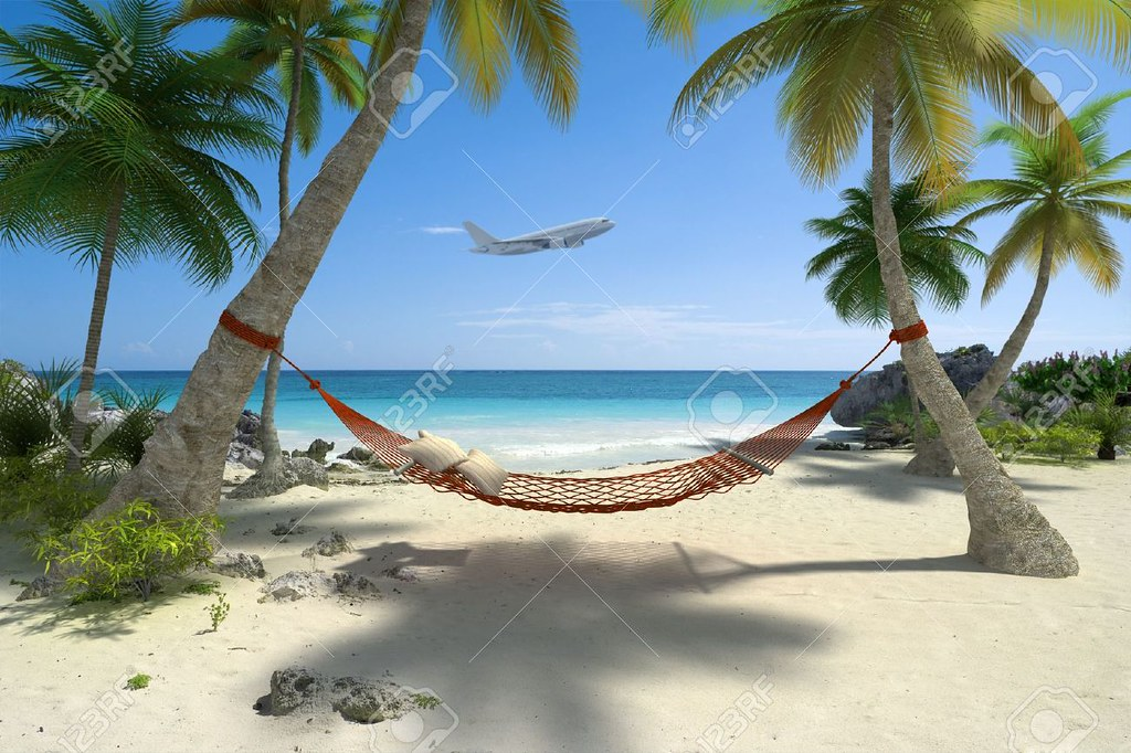 Tropical Beach Sunset With Hammock Wallpaper Free HD Desktop