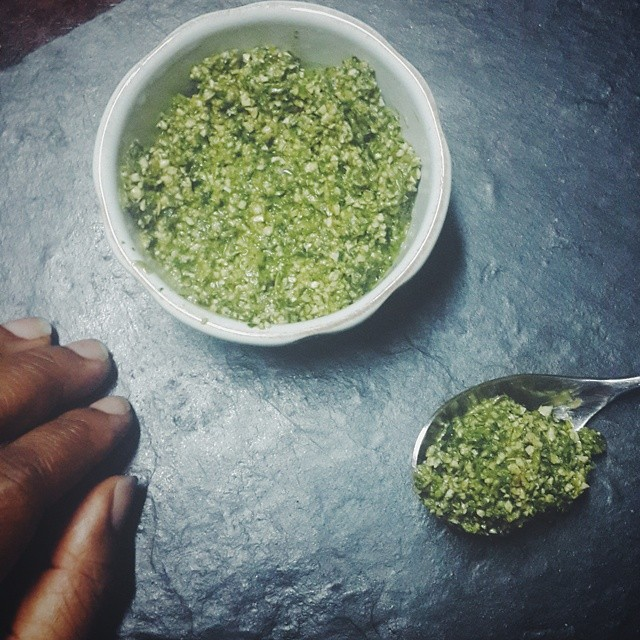 It's not #okrosoup o...... my #Nigerian people. It's an herb paste....pesto texture almost with - spring onions - cilantro - basil - mint - scent leaves - green chilies - African walnuts, #Asala - sugar - salt - ginger Nice, fragrant..... With bite. Wou