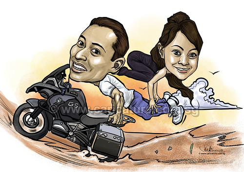 Yoga couple digital caricature on motorcycle