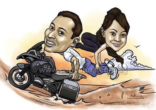 Yoga couple digital caricature on motorcycle