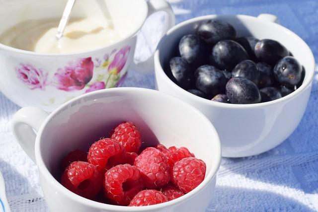 yogurt and berries for breakfast