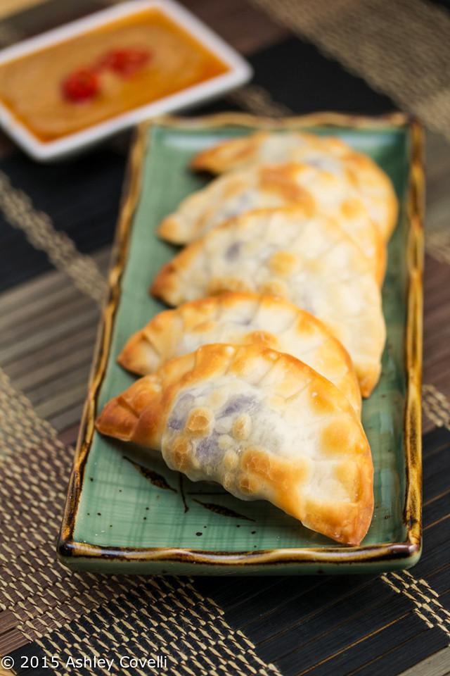 Baked Purple Yam and Sweet Potato Dumplings with Peanut Sauce