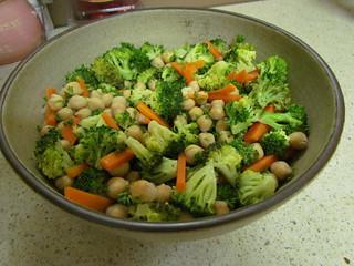 Broccoli, Carrot, and Chickpea Salad with Lemon Vinaigrette