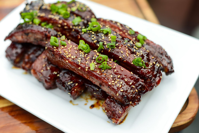 Smoked and Fried Hoisin-glazed Ribs