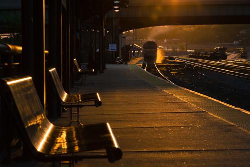 railroad station train sunrise railway trains mbta railfan goldenhour glint worcester commutertrain railroading
