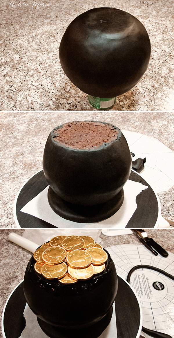 Cover the base and the cake with black fondant and use ganache to stick the gold coins on