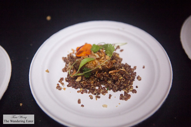 Lechon Asado - Roasted pig with fried rice style quinoa and ginger cilantro sauce by Calle Dao