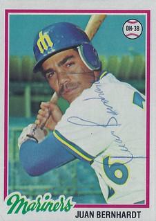 1978 Juan Bernhardt #698 (Designated Hitter / Third Baseman) - Autographed Baseball Card (Seattle Mariners)
