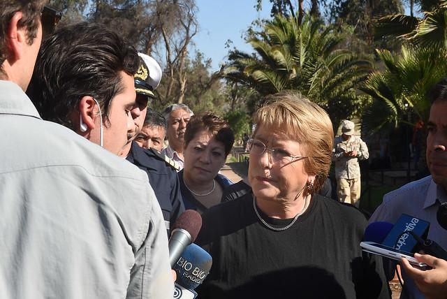 Presidenta de la República entregó una declaración a la prensa en su segundo día en el lugar de la emergencia por los temporales del norte del país
