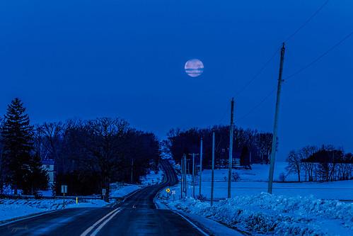 winter moon snow wisconsin rural sunrise unitedstates poynette ©jrj