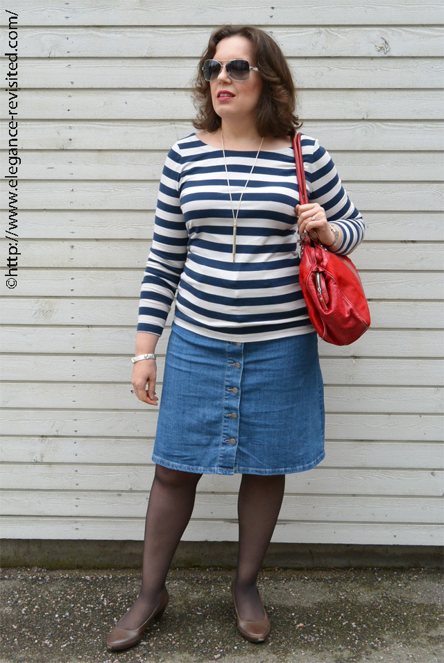 Breton Stripes and an A-Line Denim Skirt | Elegance Revisited